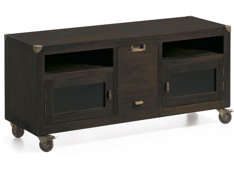Mueble de televisi n estilo industrial con ruedas - Mueble tv con ruedas ...