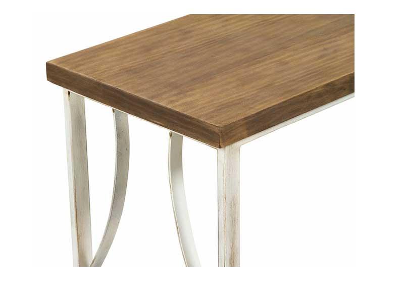 Consola de recibidor madera y forja blanca envejecida - Madera blanca envejecida ...