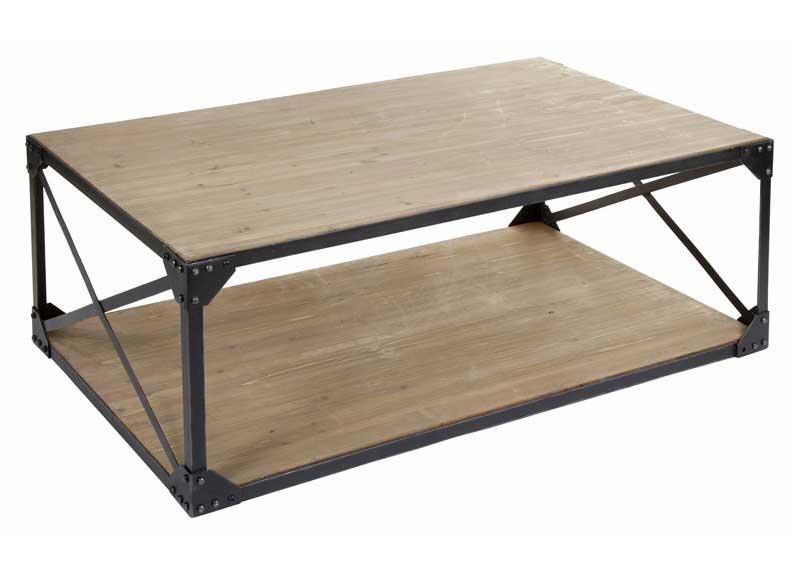 Mesa de centro estilo industrial grande madera hierro original house - Mesa madera industrial ...