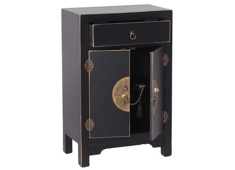 Mesilla de noche estilo oriental color negro 2 puertas - Mesilla de noche original ...