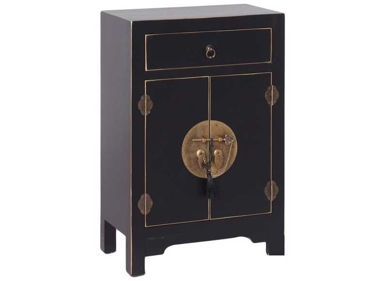 Mesilla de noche estilo oriental color negro 2 puertas original house Mesilla de noche original