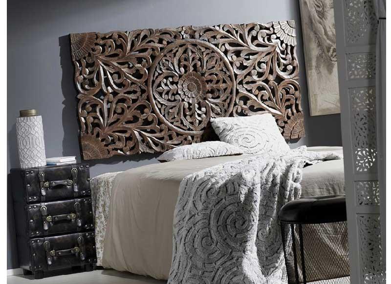 Cabecero mandala madera marr n original house - Cuadros encima cabecero cama ...