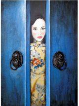 cuadro-mujer-oriental-puerta-azul