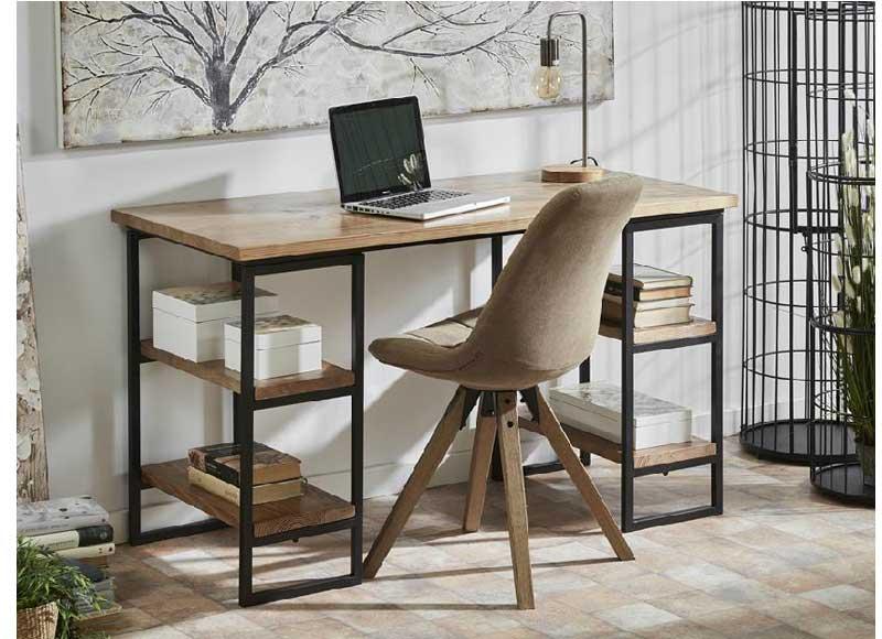 Escritorio estilo industrial madera natural columnas forja - Escritorio estilo industrial ...