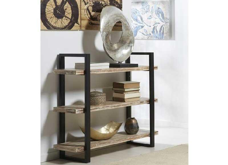 estantera baja estilo industrial madera metal 3 baldas - Estanterias Bajas