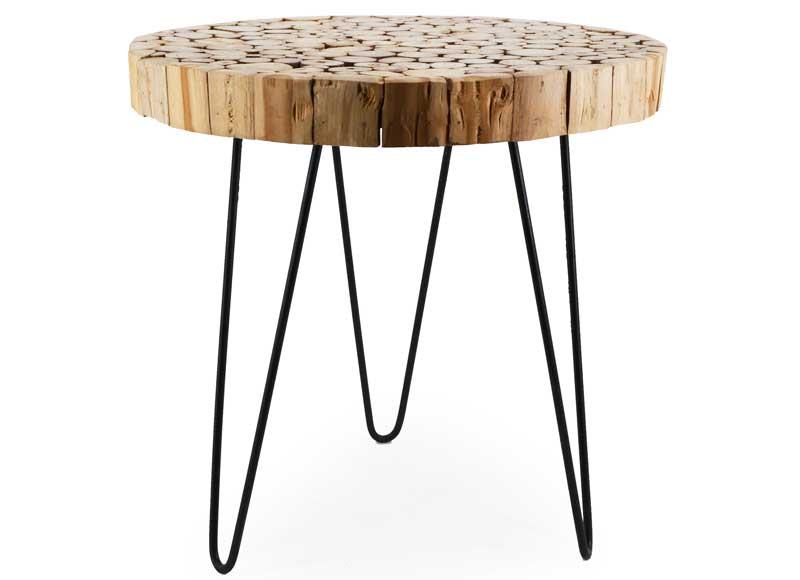 Mesa auxiliar redonda troncos madera natural original house - Mesas de troncos de madera ...