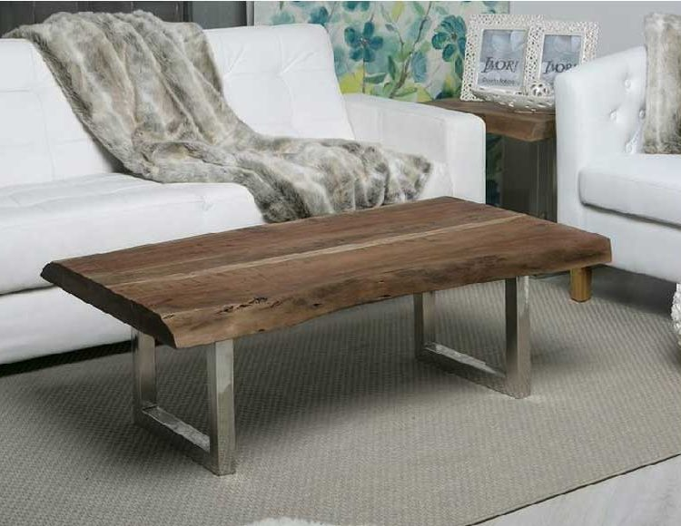 mesa centro madera rustica acero - Mesa De Madera Rustica