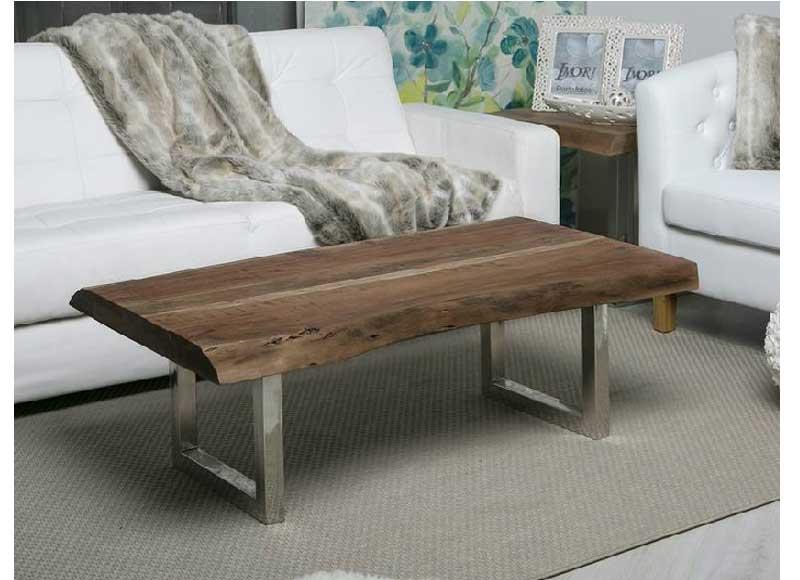 Mesa de centro r stica madera natural patas acero for Hacer mesa de madera rustica