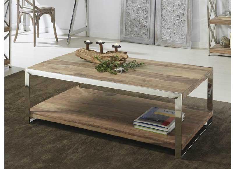 Mesa de centro r stica actual madera acero con balda - Mesas de centro rusticas ...