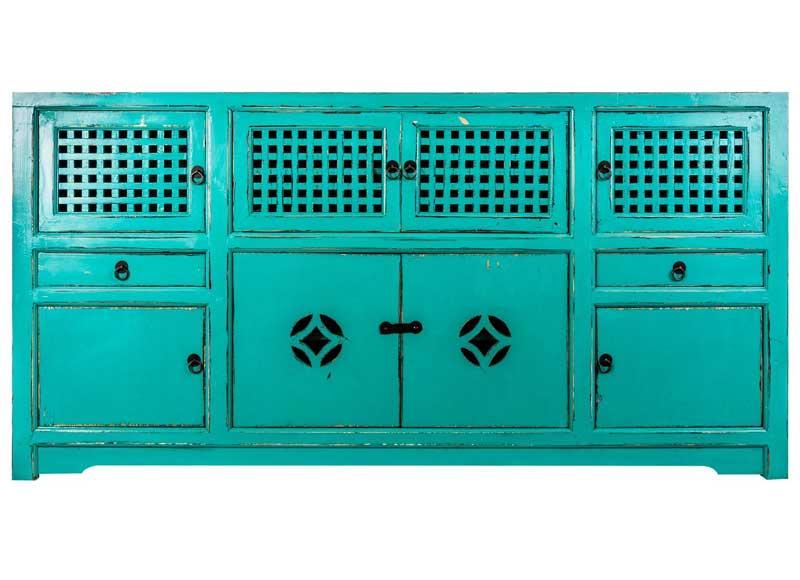 Artesanato Arame ~ Aparador Oriental Azul Turquesa Original House