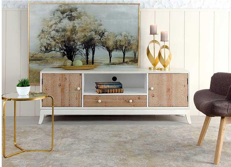 Mueble de televisi n n rdico madera blanco envejecido for Mueble nordico salon