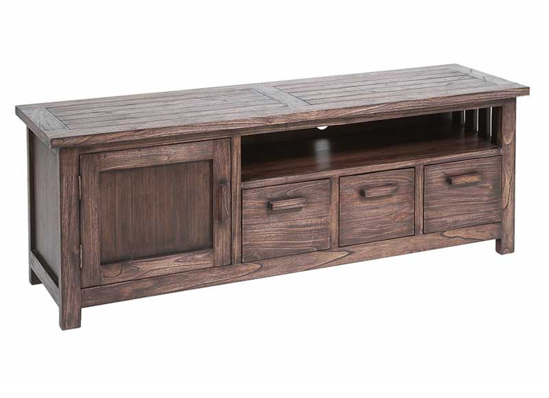 Mueble de televisi n colonial madera oscura original house - Mueble tv colonial ...