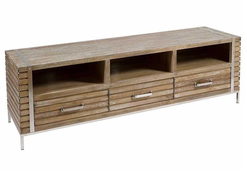Mueble de televisi n madera teca y acero original house for Muebles madera teca