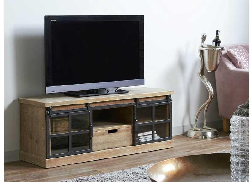 mueble de televisi n estilo industrial madera puertas