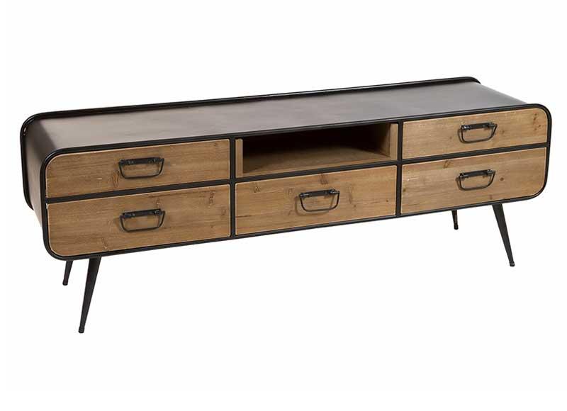 Mueble de televisi n estilo industrial madera metal curvo for Comprar mueble industrial
