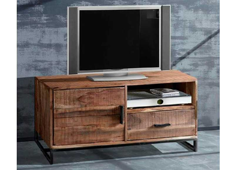 Mueble de televisi n r stico industrial madera acacia for Mueble television industrial