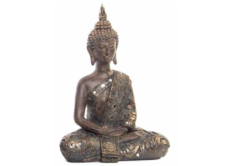 Buda meditaci n gris dorado con espejos original house - Figuras buda decoracion ...