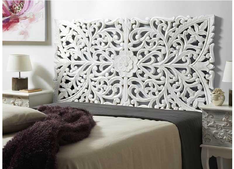 Cabecero flor madera blanco envejecido original house - Cabecero blanco madera ...