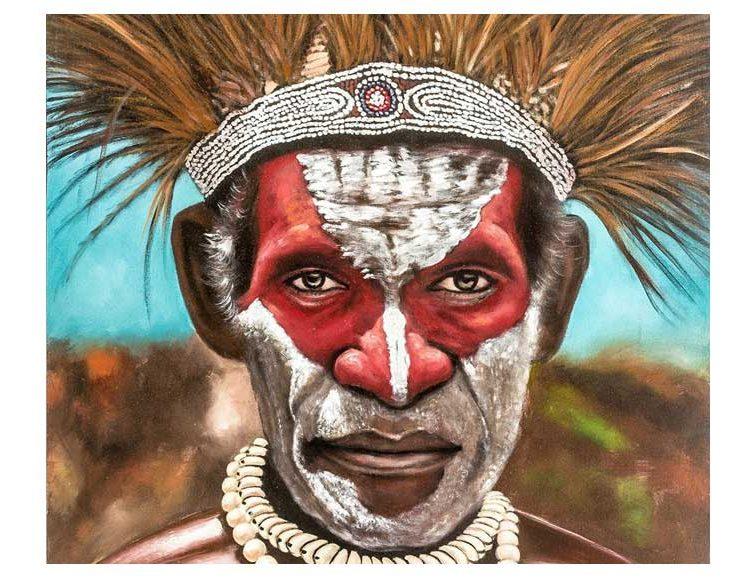 cuadro-guerrero africano-detalle