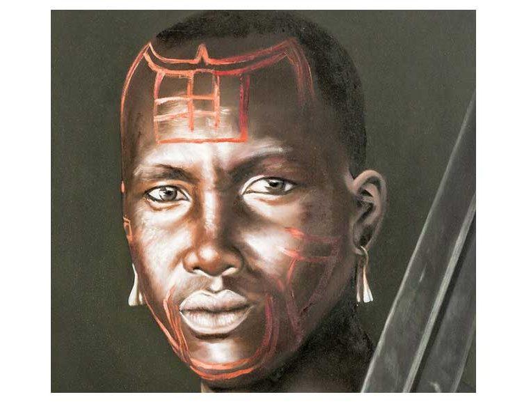 cuadro-guerrero-africano-lanza-detalle