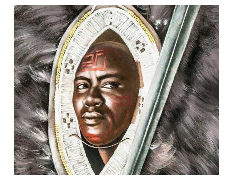 cuadro-guerrero-africano-plumas-detalle