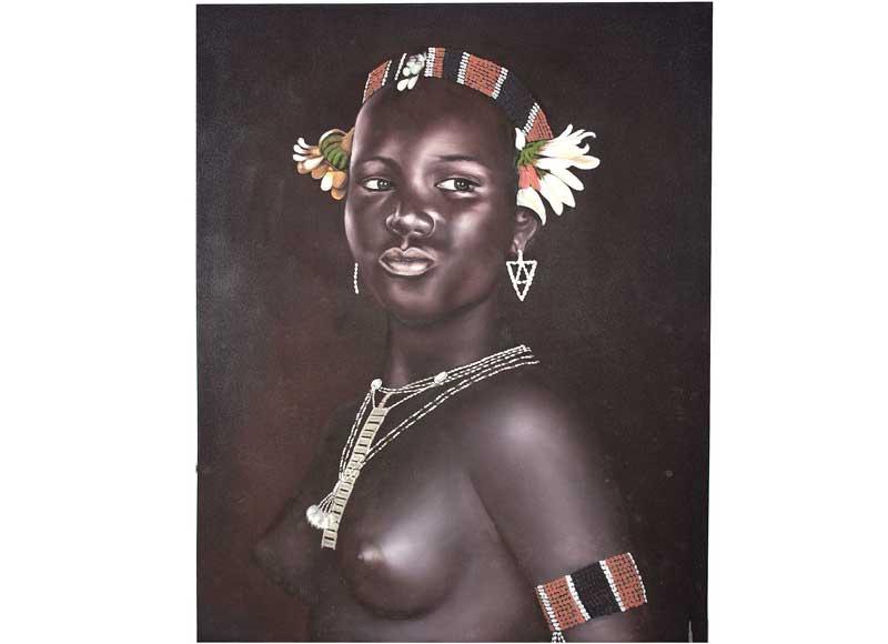 Cuadro Grande Mujer Africana Torso Desnudo Original House