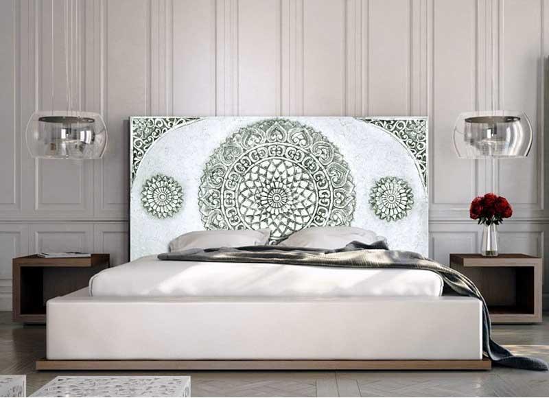 Cabecero mandala madera y lienzo blanco gris original house for Cabecero blanco madera