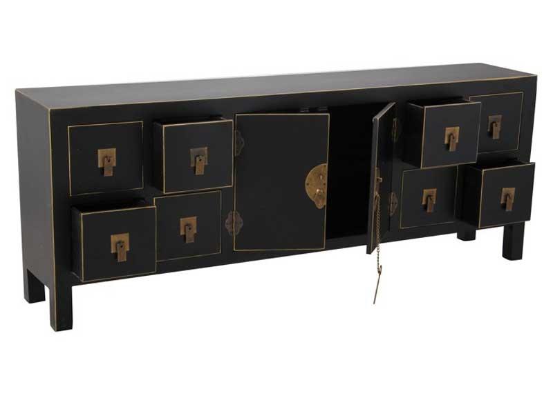 Mueble de televisi n oriental negro dorado original house for Mueble tv negro