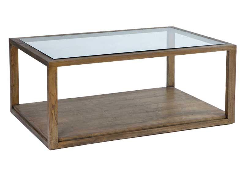 Mesa de centro colonial madera natural cristal original - Mesa centro colonial ...