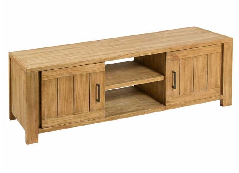 Mueble de televisi n r stico madera tropical clara for Mueble bano madera clara