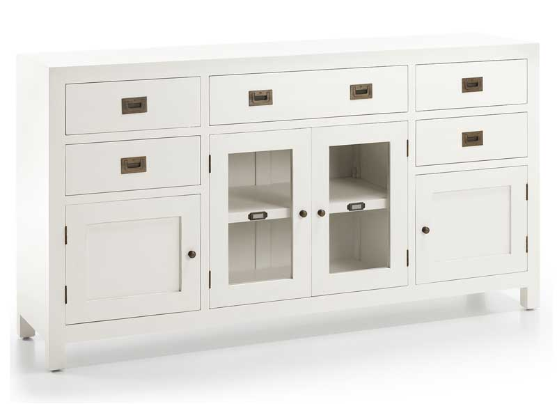 Aparador Blanco New White Puertas Madera Cristal - Original House