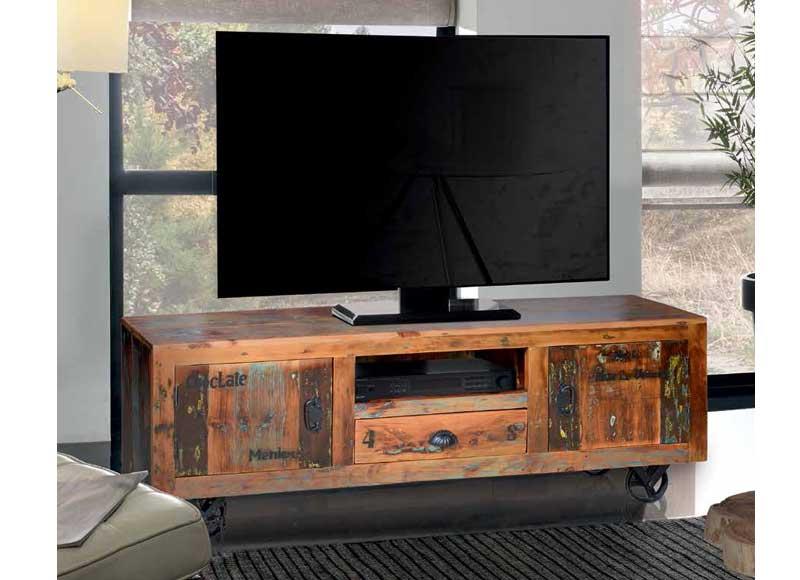 Mueble de televisi n estilo industrial madera reciclada original house - Mueble estilo industrial ...