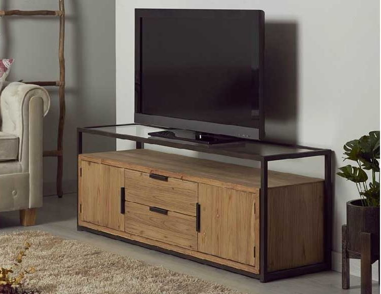 mueble-television-industrial-madera-metal-cristal