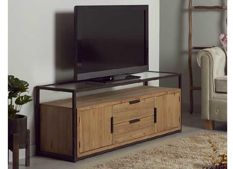 mueble de televisi n estilo industrial madera metal On muebles de madera metal industrial