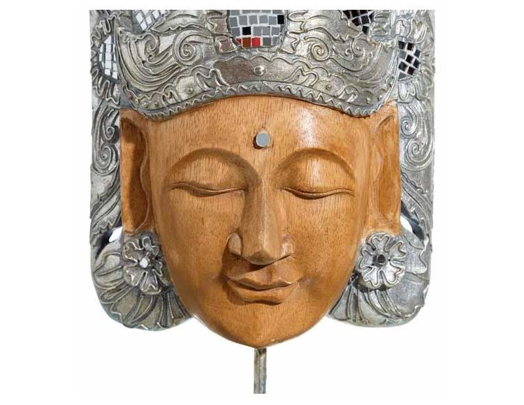 figura-diosa-oriental-madera-resina-plata-detalle