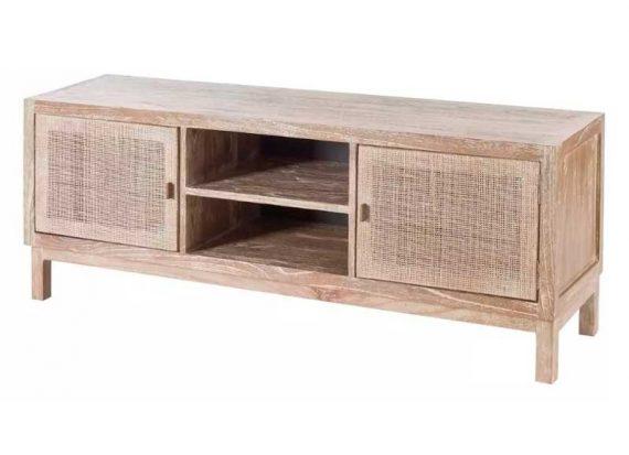 mueble-television-colonial-madera-clara-rattan
