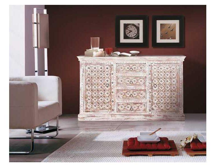 aparador-arabe-madera-blanco-herrajes-comedor