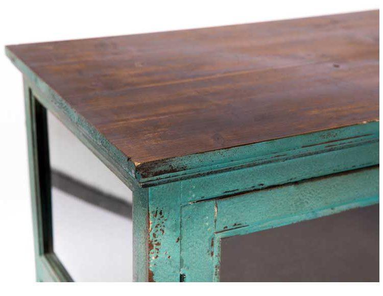 aparador-rustico-cristal-verde-envejecido-detalle