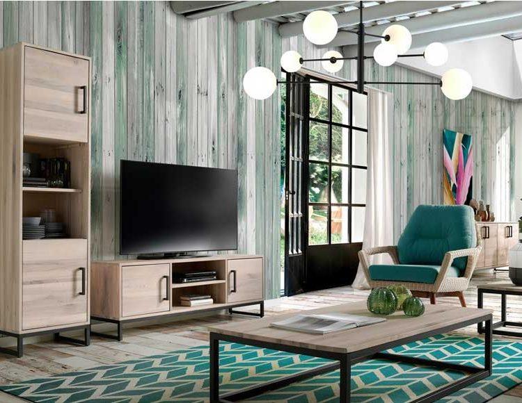 mueble-television-rustico-industrial-madera-clara-metal-salon