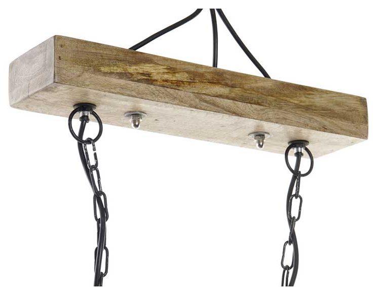 lampara-techo-industrial-pantallas-metal-madera-soporte