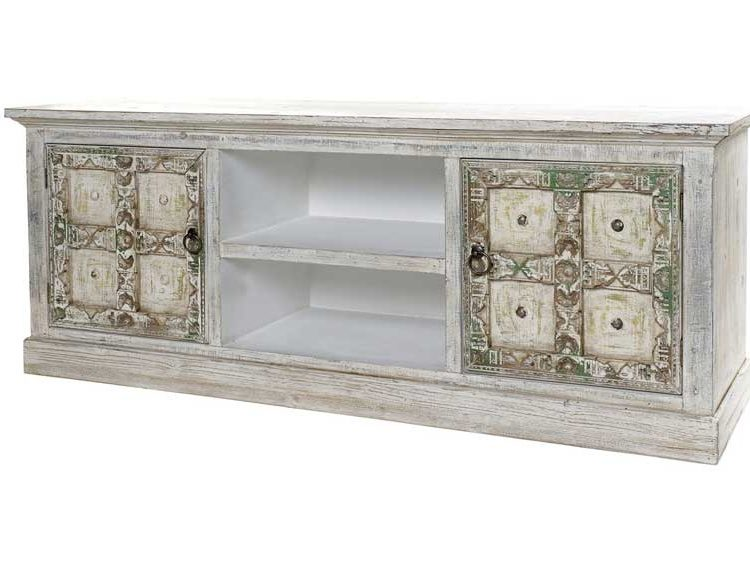 mueble-television-etnico-blanco-puertas-multicolor