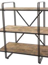 estanteria-baja industrial-madera-rustica-metal-negro