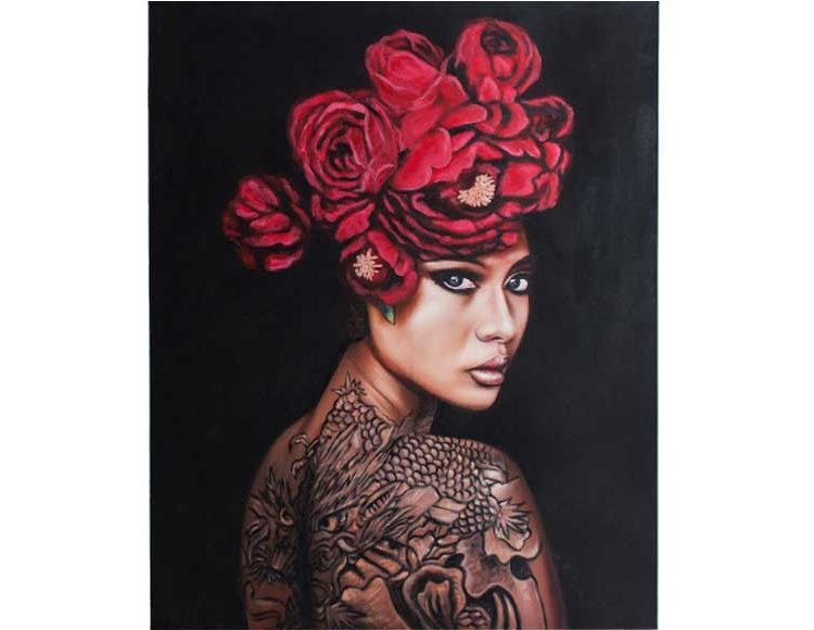 cuadro-lienzo-mujer-oriental-tatuaje