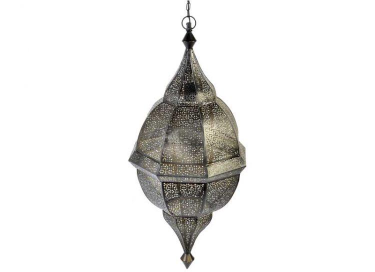 lampara-techo-arabe-metal-calado-negra