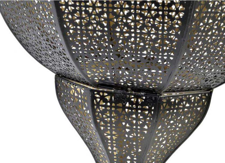 lampara-techo-arabe-metal-calado-negra-detalle