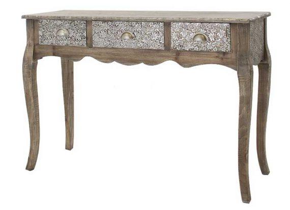 consola-rustica-madera-cajones-metal-repujado