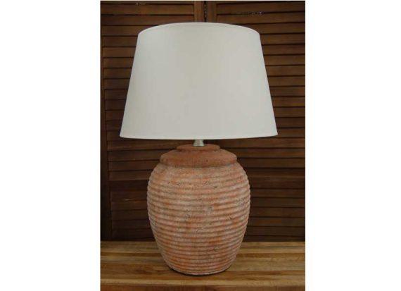 lampara-sobremesa-rustica-terracota-rayas