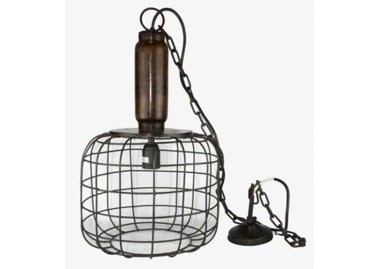 lampara-techo-industrial-madera-pantalla-metal