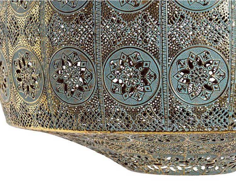 lampara-techo-arabe-metal-calado-detalle