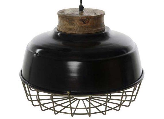 lampara-techo-industrial-metal-negro-madera